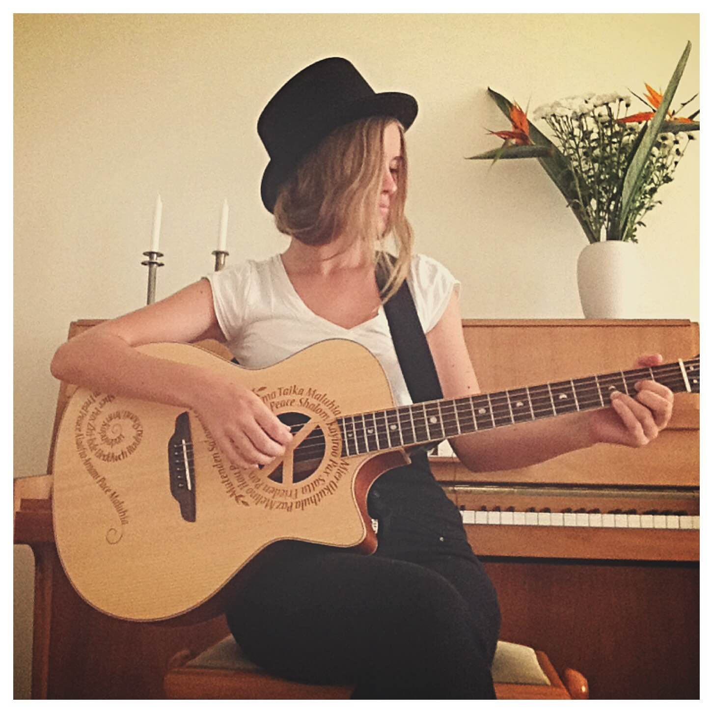Luna with her favourite guitar
