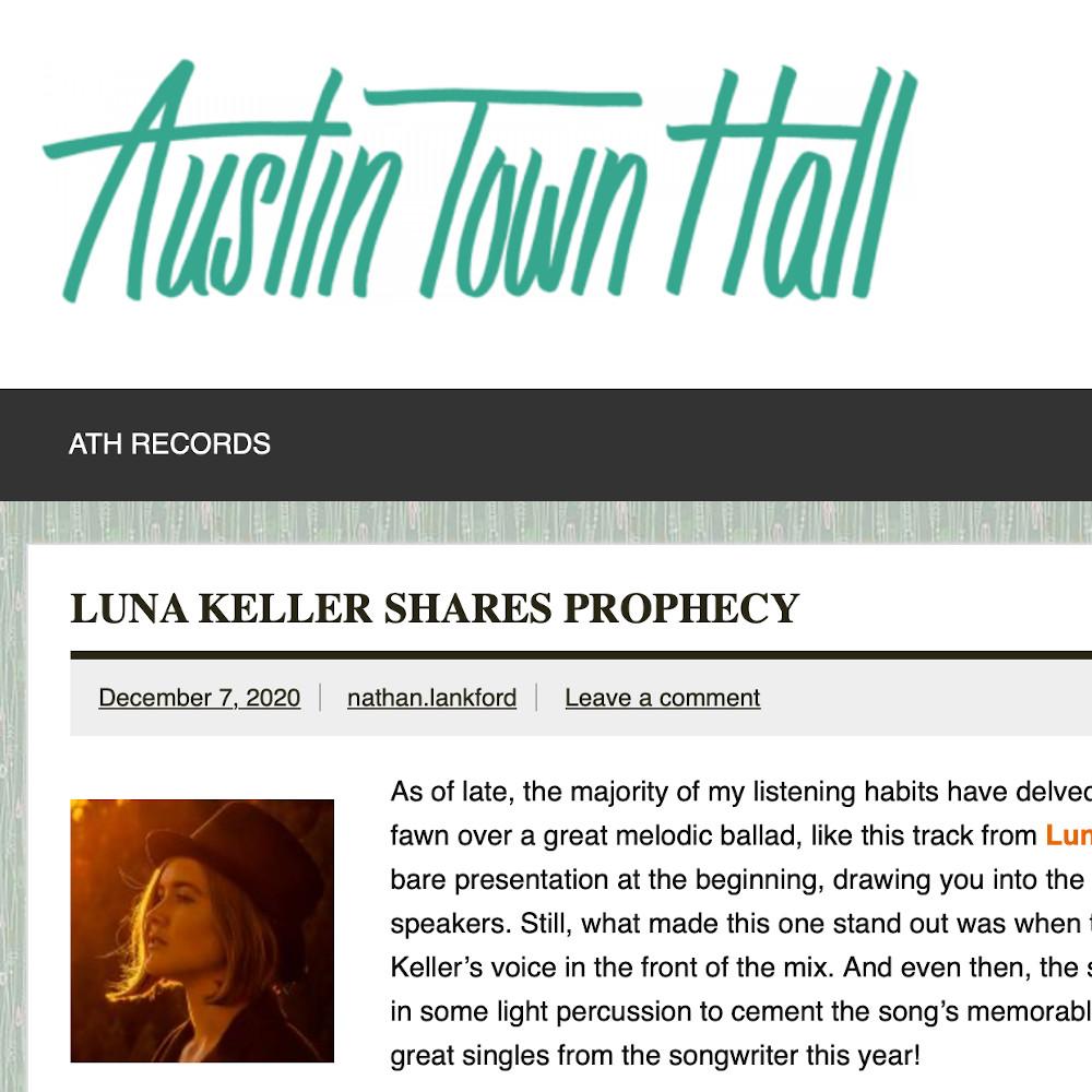 Austin Town Hall about Luna Keller Prophecy