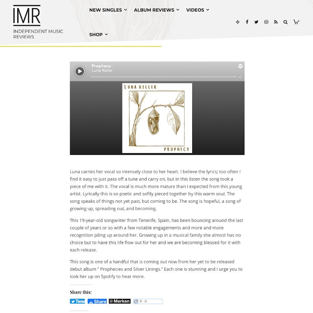IMR Prophecy Luna Keller Review
