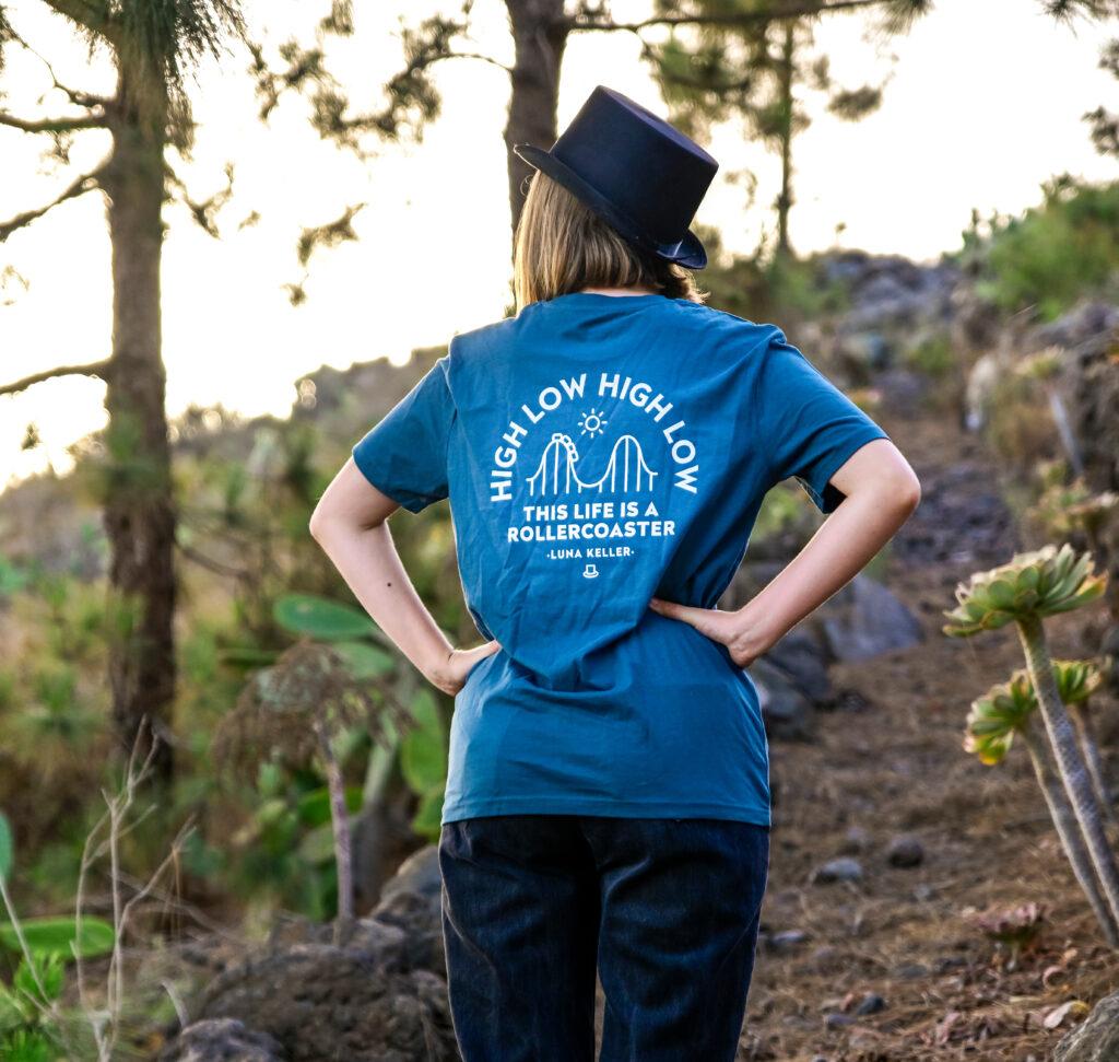 Luna Keller blue high low high low t- shirt